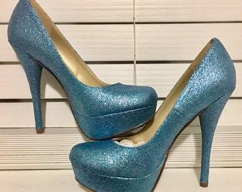 Tiffany blue heels etsy something blue glitter high heels junglespirit Images