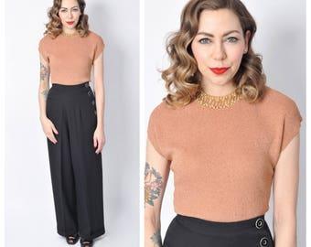 Vintage 1940's Dark Tan Beaded Sweater Blouse/ 40's 50's Cap Sleeve Shirt Size Medium/ Large