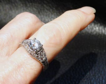 Engagement Ring 10K White Gold CZ