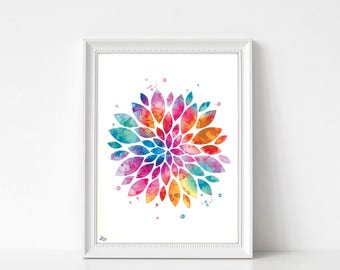 Flower poster, watercolor flower, multicolored print art print abstract flower, wedding gift