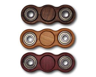 Fidget Spinner Dual Spinner EDC Spinner Solid Hardwood Bones Reds Bearing Walnut Cherry Purpleheart