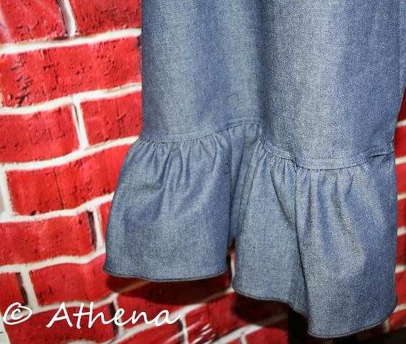 Womens Ruffle Pants Plus Sized Ruffle Pants Cropped One Ruffle - Elastic Waist in  Solid Colors (Custom Handmade)
