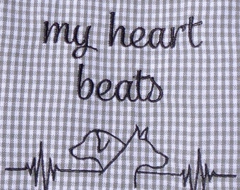 This is how my heart beats - Dogs - Tea Towels - Dish Towel - Dish Rag - Home Decor