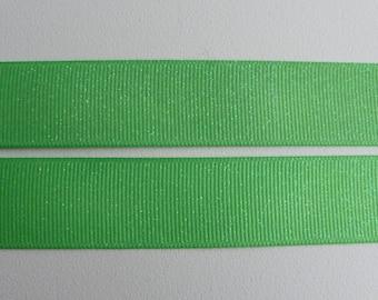 "Flash Green Glitter Grosgrain Ribbon 7/8""/22mm wide x 1 meter    Base colour - 555"