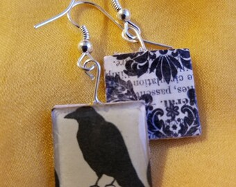 Vintage Raven Gothic Earrings