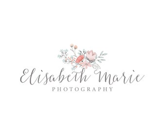 Photography Logo and Watermark, Premade Watercolor Floral Frame logo  193