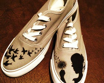 Handpainted shoes (girl with a dandelion)