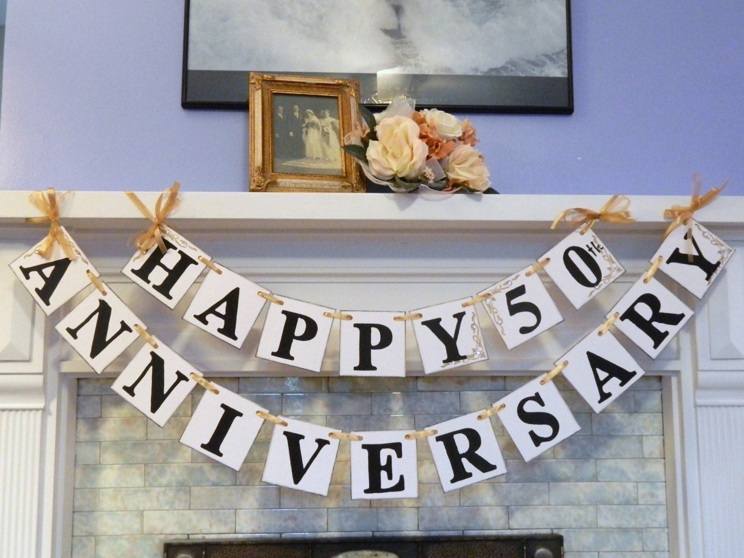 Happy anniversary banner silver anniversary party prop golden