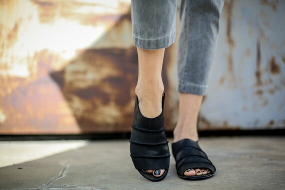 On Handmade Flats Leather Summer Slide Cecile Sandals Summer Sandals Black Shoes Sandals Sandals Mules Black Sandals Black Slip SALE wFp0nfaqf