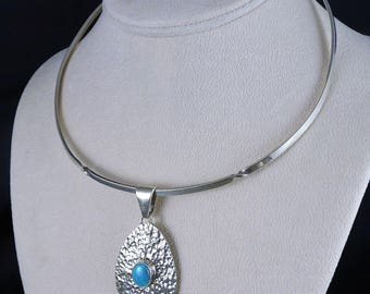 Sterling Pendant Collar Necklace, Vintage Mexican Silver Turquoise Pendant Necklace, Hammered Pendant, Choker Necklace, Mexican Silver
