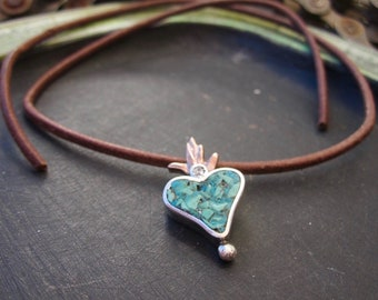Handmade Flaming heart pendant in sterling silver and copper with blue turquoise inlay