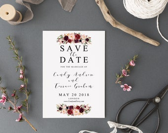 printable save the date template instant download woodland