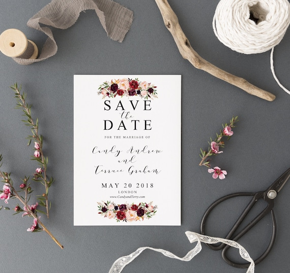 Save the date Template printable Save the date postcard