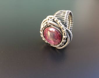 Star ruby silver wire wrapped ring