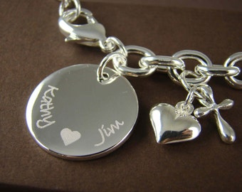 Personalized Wedding Gift for Her - Custom Engraved Bracelet for Her - 925 Sterling Silver Jewelry