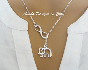 Lariat Style Elephant and Infinity Necklace Mothers Day Grandmother Gift Lucky Elephant Necklace