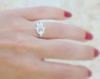 Hamsa ring -  silver hamsa ring / Hand ring / Hand of god ring / Filigree hamsa ring / Hamsa ring silver / unique hamsa ring