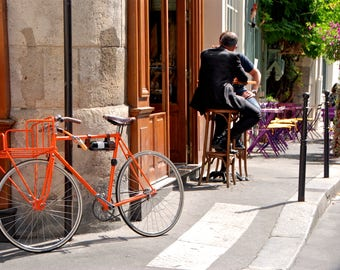 Bicycle - Bicyclette - Cafe - Restaurant - Place Dauphine - Paris - France - Photo - Print