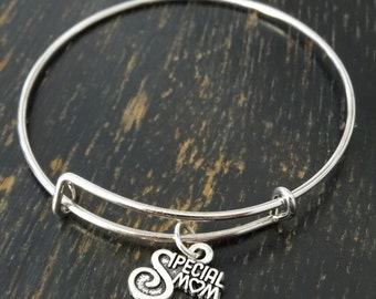 Special Mom Bangle Bracelet, Adjustable Expandable Bangle Bracelet, Mom Charm Bracelet, Mom Pendant, Mom Jewelry, Mother Bangle,Mother Gifts