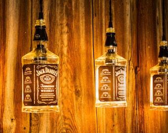 Industrial Lighting, Pendant Light, Whiskey Bottle Light, Rustic home Decor, Man Cave, Pool table, Handmade, Bar Decor, Chandelier
