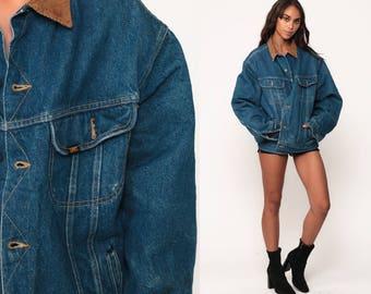 LEE Jean Jacket 80s Denim Trucker Coat Vintage Jean Coat Distressed Dark Wash Denim Coat Hipster Jacket Men's Size 44 Long Medium Large dPvFT0