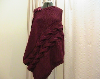 Red Shawl Hand knitted with buttons Chunky Wool