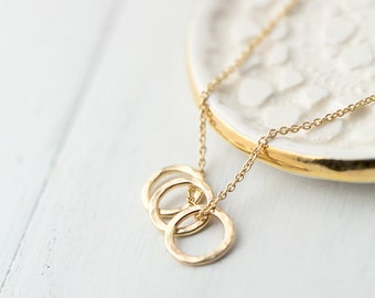 Triple Three Ring Gold Filled Necklace, Mom Gift from Daughter, Minimal Minimalist Circle Necklace Jewelry Gift for Women for Her
