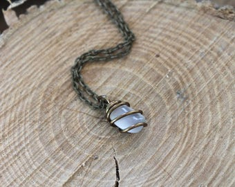 White Moonstone Necklace - Wire Wrapped Stone Jewelry - White Gemstone Necklace - Natural Moonstone Jewelry - Wiccan Jewelry - Boho Necklace
