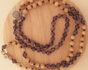 Mala necklace, Amethyst, fragrant sandalwood, hill tribe silver, hand beaded