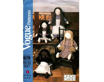 Vogue 8276 Toy Soft Doll & Clothing 70s Retro Vintage Sewing Pattern UNCUT Factory Folded