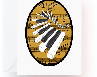 Piano Keys Note Cards, Music Note Cards, Stationery, Note Cards, Blank Cards, Music Teacher Gift, Music