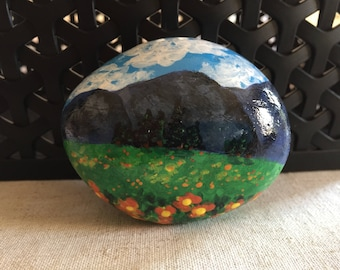 Blue Ridge Mountains Painted Rock, Landscape Painting, Teacher gift, Christmas gift, Stocking stuffer, Field of Flowers, Hand-Painted rock