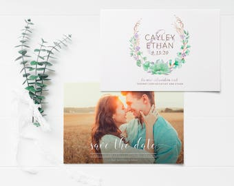 Whimsical Watercolor Save the Date - Photo Save the Date Card