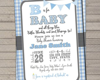 """B is for """"Baby"""" Gingham Baby Shower Invite"""