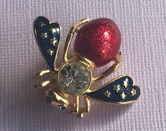 Vintage rhinestone red white and blue bee pin, stars and stripes, patriotic bee  pin, bee brooch, insect pin, blue eyed bee, bee pins insect