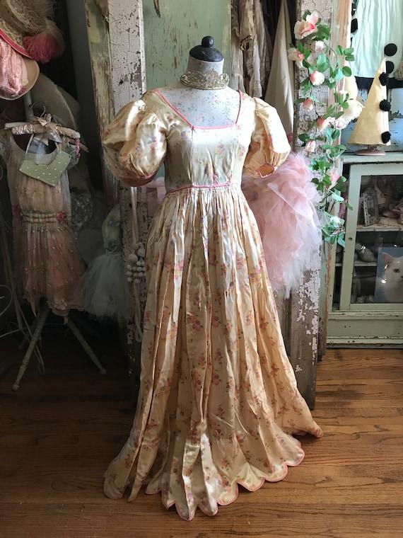 Vintage Lace Chic s48 Back Pink Silk Shabby Gorgeous Up Corset Floral Dress UXqqdRTF