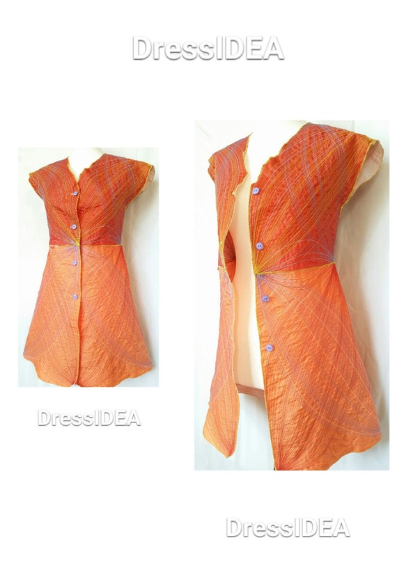 Wear Clothing Funky Colorful Man Burning Jacket Orange Wearable Cool Mini Dress Art to Outfit qzHw8qCr
