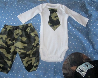 Baby Boys pants set,Hand made, sizes New born to 24 months,  Baby Camo outfit,Pants and shirt set,Cotton pants, Long or Short sleeves