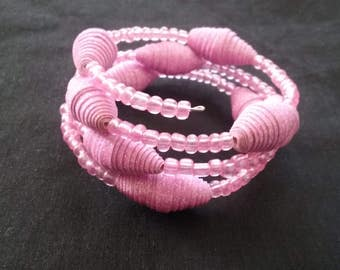 Sparkly Pink Beaded Memory Wire Bracelet, Wedding Bracelet, Pink Seed Bead Bracelet, Pink and Glitter Paper Beads