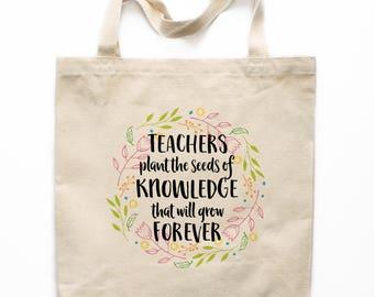Teacher Gift, Teacher Tote Bag, Canvas Tote Bag, Printed Tote Bag, Market Bag, Shopping Bag, Reusable Grocery Bag 0143