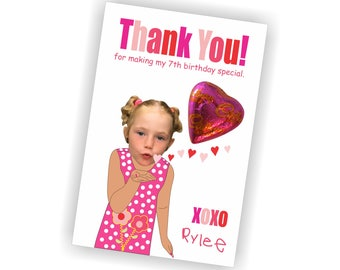 Birthday Favor, Thank You Card, Candy Birthday Favor, Custom Photo Childs Birthday Favor, Thank You Card, Photo Thank you Card