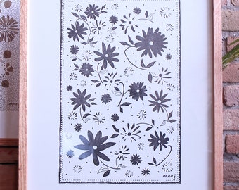 Floral Letterpress Poster, 18x24 in.