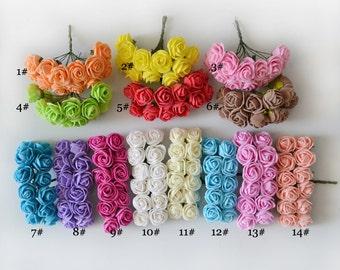 Bunch of 12-Miniature Flowers,Foam Flowers,Miniature Foam Roses,Tiny White Flowers,Small Foam Flowers,Wedding Findings,Craft Supplies