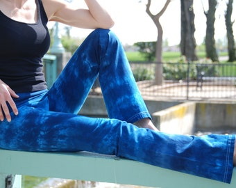 "Blue Tie Dye Yoga Pants 32"" inseam Including Plus Sizes"