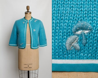 vintage 60s cardigan sweater with embroidered mushrooms | truquoise blue