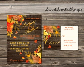 Rustic Fall Wedding Invitation Set, Autumn Leaves Printable Wedding Invitation Suite With RSVP Card, Falling Leaves  Printable Invitation