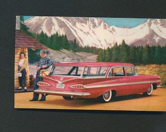 Chevy Nomad station wagon postcard unused chrome 1950s