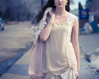 upcycled dress - S - upcycled clothing, upcycled fashion, romantic shift dress . alabaster afternoon
