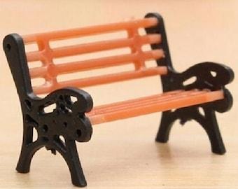 Bench 1pc - Miniature Garden - Doll House - Orange