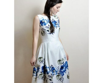 Blue Floral dress, Cotton-sateen dress, Midi dress with pockets, 50s dress